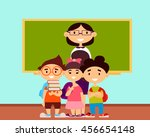 teacher and students in school... | Shutterstock .eps vector #456654148