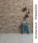 wooden stool brick wall... | Shutterstock . vector #456660202