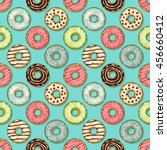 donuts seamless pattern on blue ... | Shutterstock .eps vector #456660412