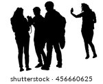 women with a camera in crowds... | Shutterstock . vector #456660625