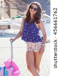 girl going to vacations with...   Shutterstock . vector #456661762