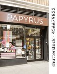 Small photo of New York, New York, USA - July 15, 2016: A Papyrus store on 7th Ave. in Manhattan. Papyrus sells greeting cards, stationery, custom invitations as well as other paper goods.