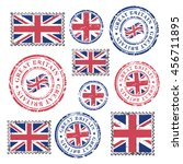 great britain grunge postal... | Shutterstock .eps vector #456711895