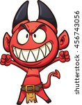 little cartoon devil. vector... | Shutterstock .eps vector #456743056