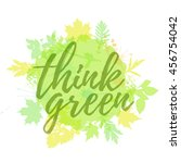 think green lettering hand... | Shutterstock . vector #456754042