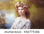 beautiful blonde woman with... | Shutterstock . vector #456775186