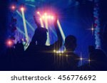 silhouettes of concert crowd in ... | Shutterstock . vector #456776692