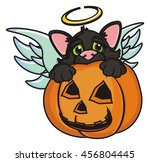 cat angel in a suit sits in a... | Shutterstock . vector #456804445