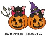 devil cat and the cat in the... | Shutterstock . vector #456819502