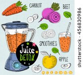 sketch juice detox set. with... | Shutterstock .eps vector #456830986