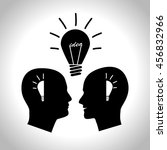 two men with idea. silhouette... | Shutterstock .eps vector #456832966