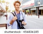 male tourist in city | Shutterstock . vector #456836185