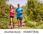 three young joggers out for a... | Shutterstock . vector #456857836