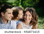 young beautiful family of three ... | Shutterstock . vector #456871615