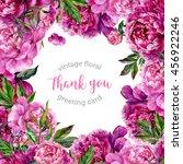 vintage watercolor floral... | Shutterstock . vector #456922246