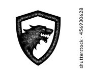 wolf head and shield grunge | Shutterstock .eps vector #456930628