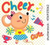 Stock vector cartoon cute rat cheerleader on yellow polka dot background illustration vector 456935062