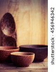 wood cup   cups  bowl  spoons ... | Shutterstock . vector #456946342