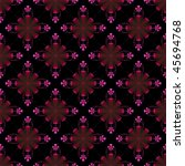 Computer generated fractal image with a seamless stylized flower design in pink and red on a black background. - stock photo