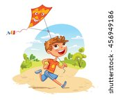boy plays with a kite in the... | Shutterstock .eps vector #456949186
