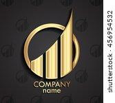 golden 3d modern design logo... | Shutterstock .eps vector #456954532