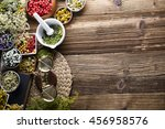 herbs  berries and flowers with ... | Shutterstock . vector #456958576