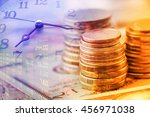 closeup view   stack of coins... | Shutterstock . vector #456971038