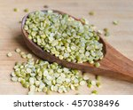 Small photo of Moong or mung bean or green gram or golden gram legumes. Indian Split Moong Dal