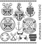 old school marine logo  tattoo... | Shutterstock . vector #457056142