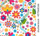 mexican seamless floral ... | Shutterstock .eps vector #457068166