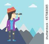 an asian business woman... | Shutterstock .eps vector #457083085