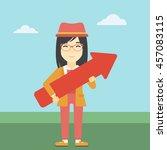 an asian  young business woman... | Shutterstock .eps vector #457083115