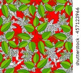 vector floral pattern on dark... | Shutterstock .eps vector #457123966