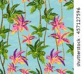 hawaii shirt palm trees pattern.... | Shutterstock .eps vector #457127596
