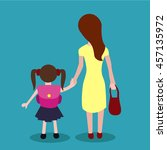 child going to school with mom | Shutterstock .eps vector #457135972