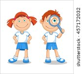 girl and a boy. boy looking... | Shutterstock .eps vector #457172032