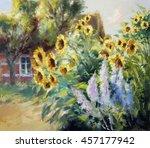rural summer motif painting ... | Shutterstock . vector #457177942