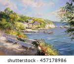 colorful seascape painting  oil ...   Shutterstock . vector #457178986