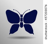 blue butterfly icon button logo ...
