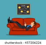 lazy bored employee laying on... | Shutterstock .eps vector #457206226