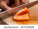 japanese chef use sharp knife... | Shutterstock . vector #457234828