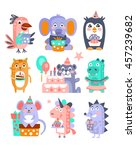 stylized funky animals birthday ... | Shutterstock .eps vector #457239682