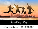 silhouette people group jumping ... | Shutterstock .eps vector #457243432