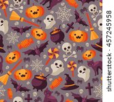 halloween seamless pattern with ... | Shutterstock .eps vector #457245958