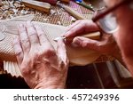 cutter carves the fish from the ... | Shutterstock . vector #457249396