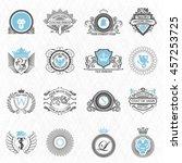 heraldry design elements outline | Shutterstock .eps vector #457253725