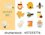 icons apiaries and bee vector.... | Shutterstock .eps vector #457253776