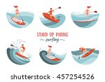 boy and girl paddle boarding on ... | Shutterstock .eps vector #457254526