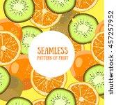 seamless fruit pattern kiwi... | Shutterstock .eps vector #457257952