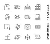 set of thin line icons isolated ... | Shutterstock .eps vector #457263616